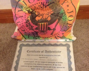 Ramones signed pillow with certificate of authenticity - Joey - Johnny - CJ - Marky