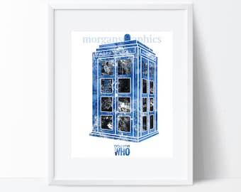 Dr Who Tardis Blue and Blank Print