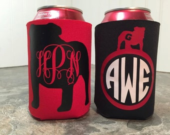 Bulldogs Red and Black Custom Monogrammed Can Cooler