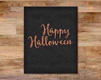 Happy Halloween - Orange glitter