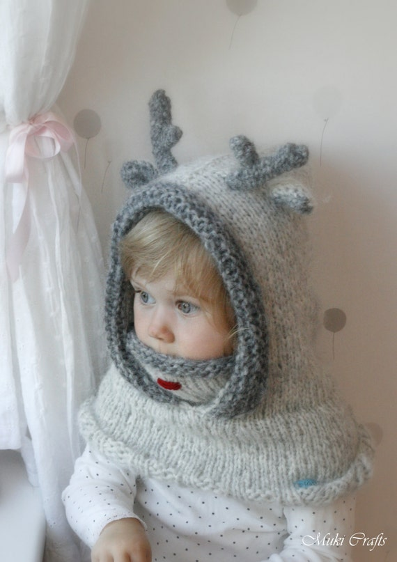 KNITTING PATTERN hooded cowl reindeer Rudolph with antlers