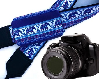 Camera Strap with pocket. Lucky Elephant Camera Strap. Camera accessories. Photographer gift. DSLR / SLR camera straps by InTePro