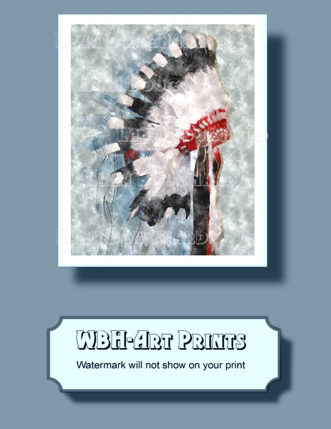 Watercolor Wall Art Native American Instant Download