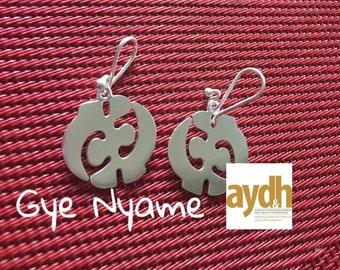 Gye Nyame Adinkra earrings -all sterling silver earrings gye nyame
