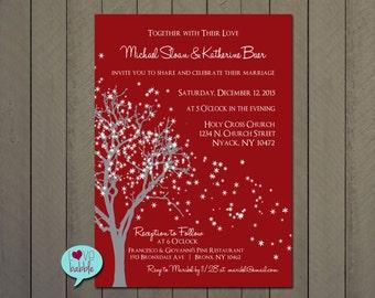 Winter Christmas Wedding, Engagement Party, Couple's Bridal shower, Rehearsal Dinner Invitation Snowflake, - PRINTABLE DIGITAL FILE - 5x7