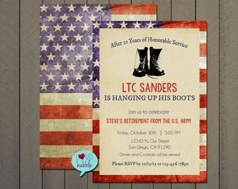 Military Government Retirement Party, Patriotic Invitation Announcement  - PRINTABLE DIGITAL FILE - 5x7