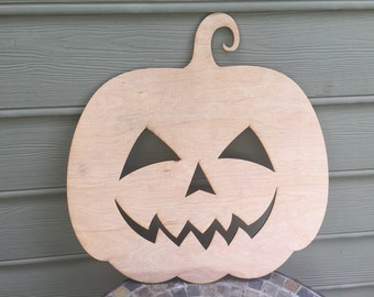 Happy Face Wood Pumpkin Cutout - Large - 5mm Thick Plywood Unfinished