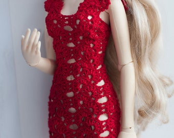 Red crochet dress for dolls around 60cm SD10/SD13 size.