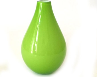 Lime Green Cased Glass Vase, Hand Blown Chartreuse Bottle Vase