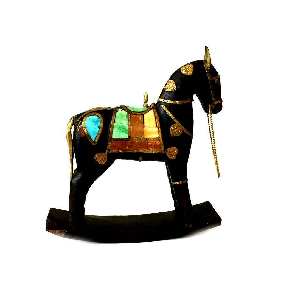 VINTAGE CARVED WOOD HORSE COPPER COLOR SHELL AND BRASS