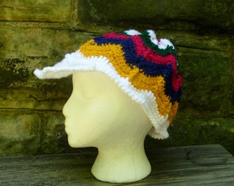Visor Newsboy Cap/Hat - Crochet Striped