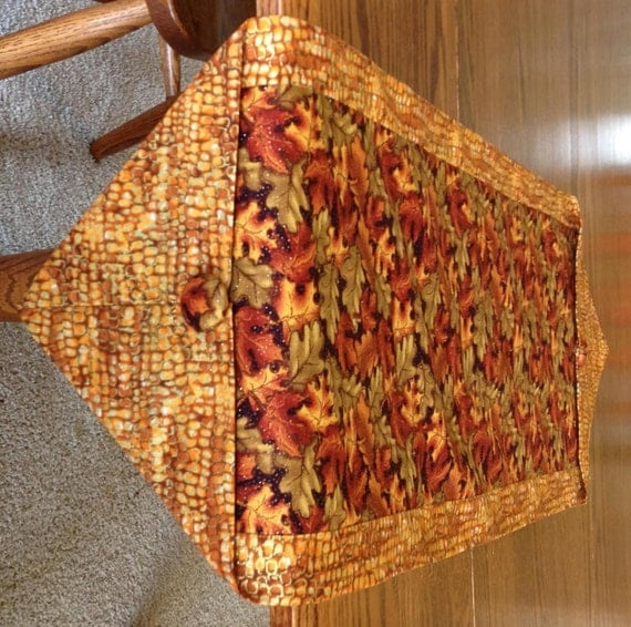 Fall Table Runner In Leaf Pattern With Brown Reds Orange And