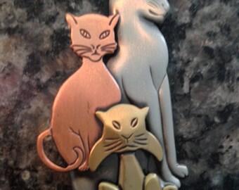 Three Cat Brooch