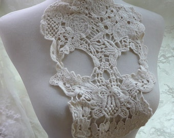 Cotton lace applique large skull applique in beige for scarf, shirt, tank tops, sewing