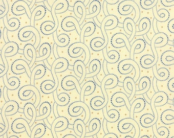 Moda Polka Dots & Paisleys  Cream and Blue Swirl     #14808 22