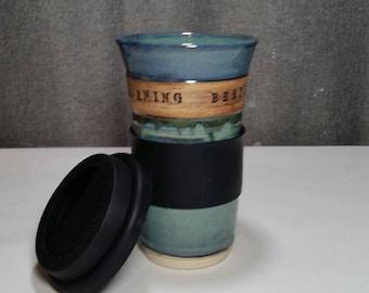 Create a Mug up to 3 weeks*** Pottery Travel mug / Large Commuter mug with silicone lid -Custom Mug MADE TO ORDER