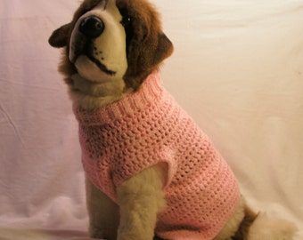 Pink hand-crocheted Turtleneck sweater