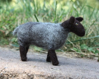 Needle Felted Standing Gray and Black Sheep