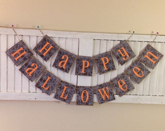 Halloween Banner Bunting Garland with Spider Webs Orange and Black Happy Halloween