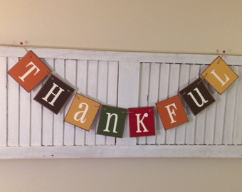 Fall Banner Thankful Bunting Garland Sign Autumn Colors Thanksgiving