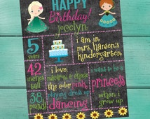 Frozen Fever Customized Chalkboard/Whiteboard Birthday/ Back to School/Last Day of School/First Day of School/ Baby Shower/ Photo Prop Sign