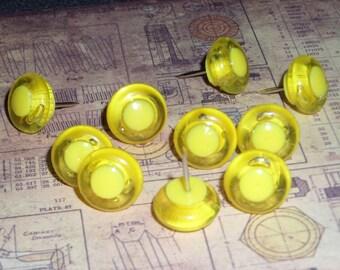 Plastic big hole bead Push Pins - Neon Yellow
