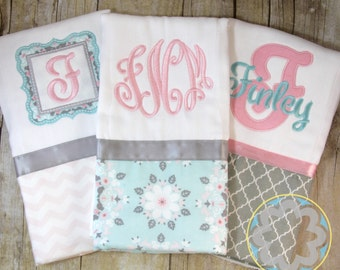 Baby Gift Set - set of 3 personalized, monogrammed burp cloths - Baby Gift - Baby Shower Gift