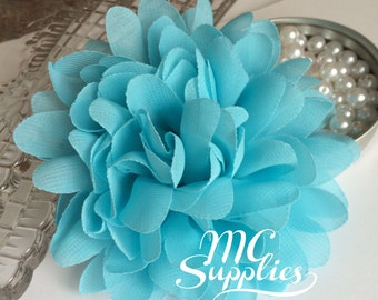Blue chiffon flower applique,chic flower applique,headband flower,hair clip flower,wedding flower,fascinator flower,hair clips,headband,141
