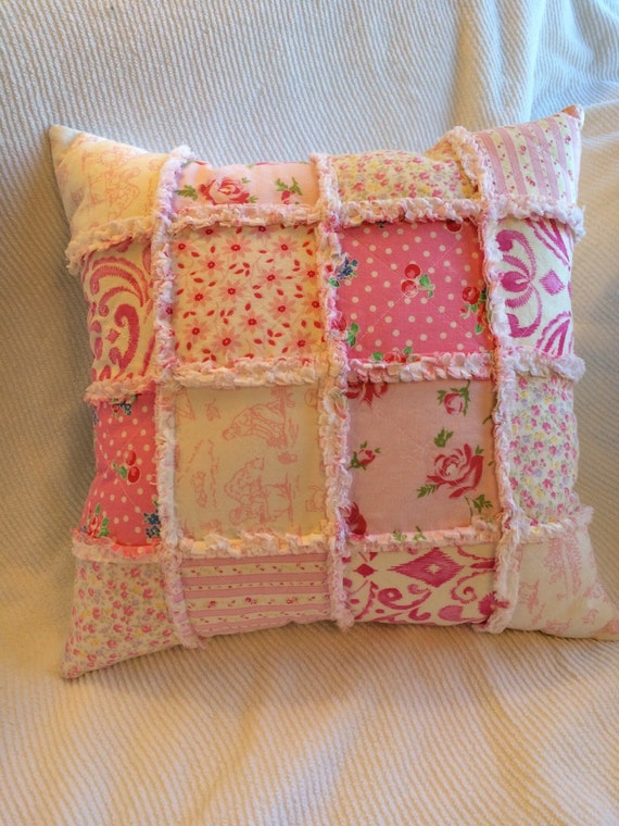 Shabby Chic Bedroom Throw Pillows : Pink Shabby Throw Pillow Shabby Patchwork Nursery by TwostitchHill