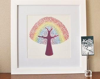 Rainbow Tree papercut: square Giclee Print