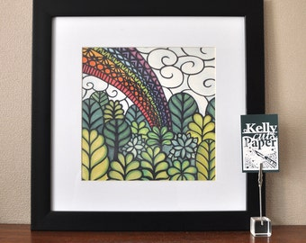 Rainbow Forest papercut: square Giclee Print