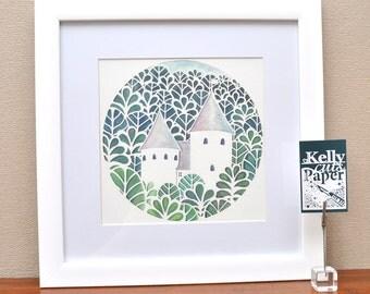 Castell Coch (Fairytale Castle) papercut : square Giclee Print