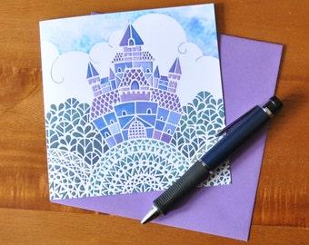 Fairytale Castle papercut print card