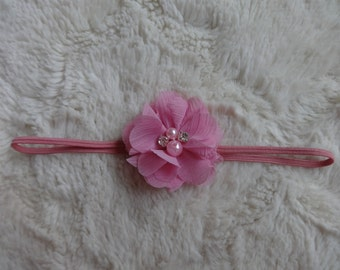 Delicate Pink Infant Headband with Pearl and Rhinestone Accents