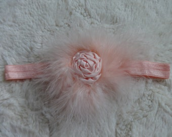 Peach Feather and Rosette Headband