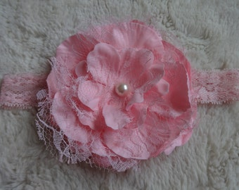 Shabby Chic Pink Lace Infant Headband with Pearl Accent