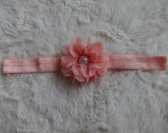 Peach Flower Infant Headband