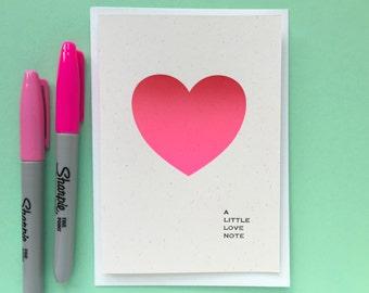 SALE - Little Love Note Heart Card - Letterpress Valentine's Card