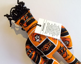 Dammit Doll, Oklahoma State University, Classic Square Design Team Fabric, stress relief item