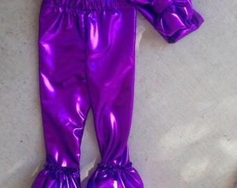 Metallic purple ruffle leggings
