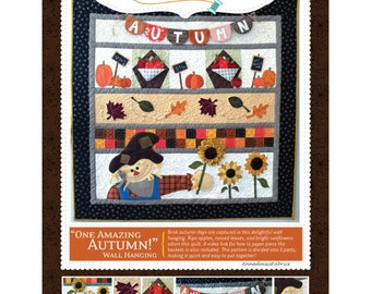 Fall Row Quilt Pattern, Kimberbell KD185 One Amazing Autumn Wall Hanging Pattern, Autumn Quilt Pattern