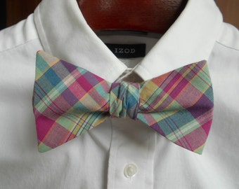 Bow Tie - Pink, Green and Blue Madras Plaid - Men's self tie