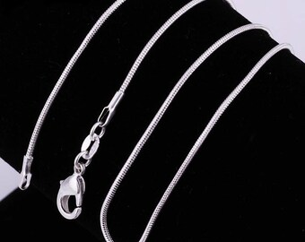 "Sterling Silver Snake 2mm Chain Necklace 16"" 18"" 20"" 22"" 24"""
