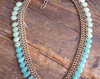 Vintage Gold Jadeite Teal Necklace Robin's Egg Blue