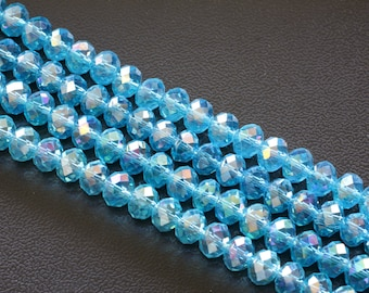 8x6MM  AB Sky Blue  Glass Crystal Beads