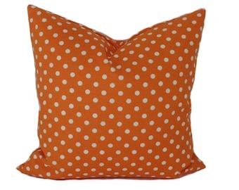 Orange pillow cover, 18x18, Throw pillows, Toss pillow, Decorative pillow, Accent pillow, Polka dot pillow, Kid's pillow, Children's pillow