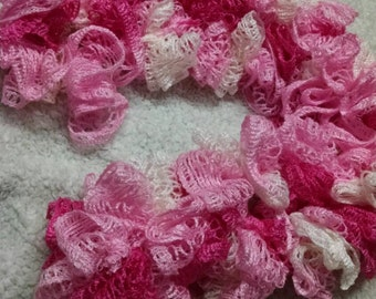 Variegated Pink Ruffle Scarf