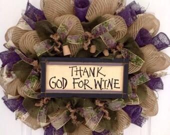 Thank God For Wine Wreath Handmade Deco Mesh With Wine Corks