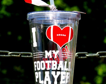 Football Mom Cup, Football Parent Tumbler, Football Grandparent Cup, Personalized Football Cup, I Love My Football Player Cup