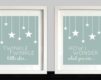 Twinkle, Twinkle Little Star // Nursery Wall Art // Nursery Decor // Stars Nursery Art // Nursery Rhyme // Set of 2 // Choose Your Colors